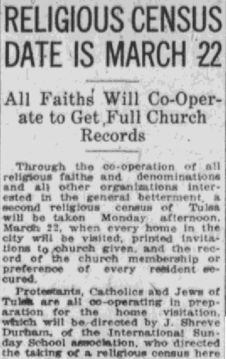An article about church records, Tulsa World newspaper article 10 March 1920