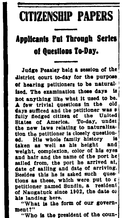 An article about citizenship and naturalization, Waterbury Evening Democrat newspaper article 14 March 1908