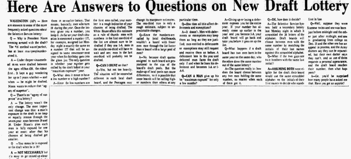 An article about the draft lottery during the Vietnam War, Dallas Morning News newspaper article 7 December 1969