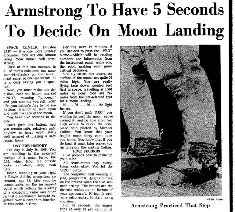 An article about Neil Armstrong stepping onto the moon, Greensboro Daily News newspaper article 20 July 1969