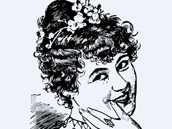 Illustration: a drawing of a laughing woman