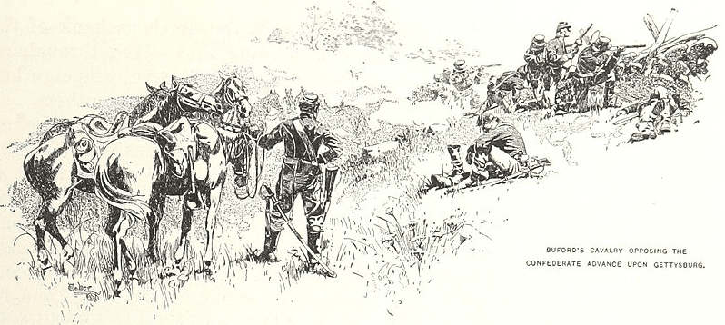 Illustration: General John Buford's cavalry opposed the Confederate advance during the opening stages of the Battle of Gettysburg