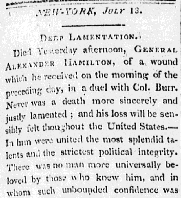 An article about the death of Alexander Hamilton, New-York Gazette newspaper article 13 July 1804