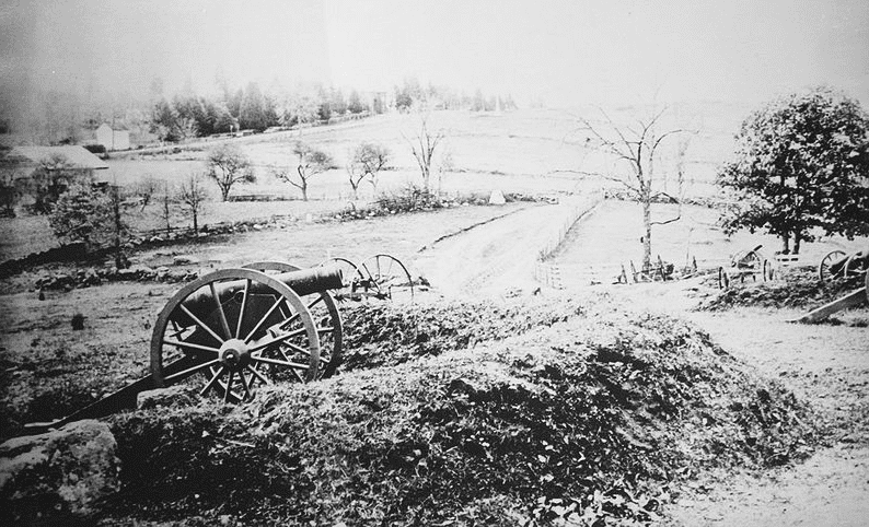 Photo: Barlow's Knoll after first day's battle at Gettysburg