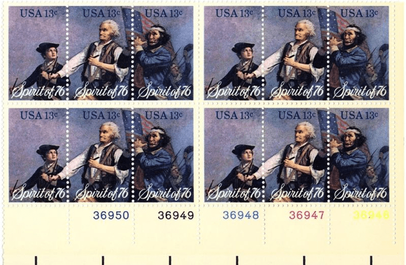 "Photo: ""Spirit of 76"" triptych block of postage stamps, 1976"