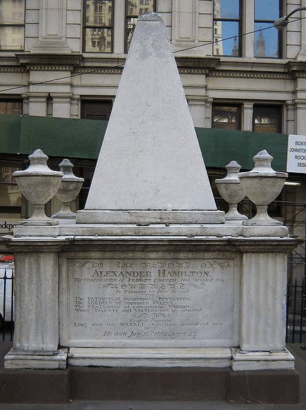 Photo: tomb of Alexander Hamilton in the graveyard of Trinity Church in New York City