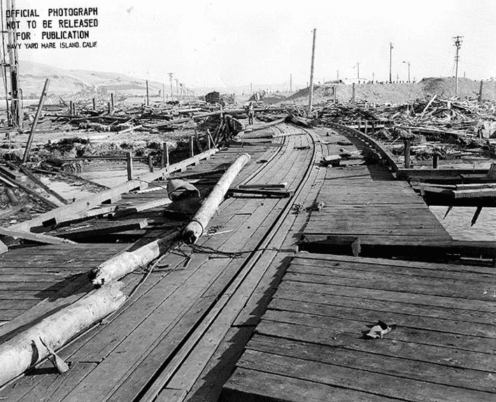 Photo: Naval Magazine, Port Chicago, California, damage resulting from the Port Chicago ammunition explosion disaster of 17 July 1944