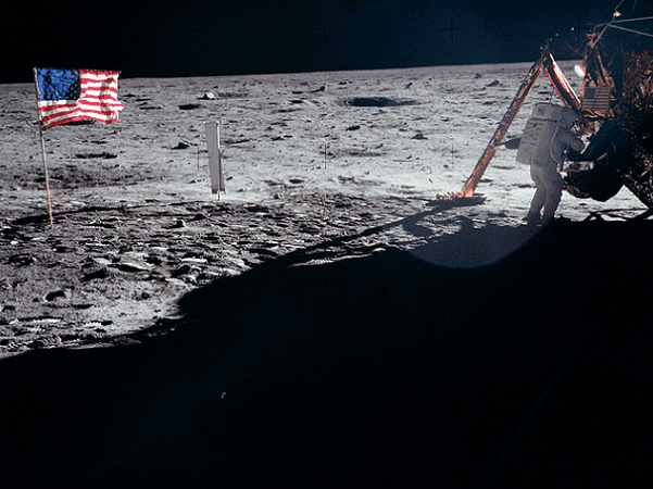 Photo: Neil Armstrong works at the Lunar Module in the only photo taken of him on the moon from the surface. Credit: NASA; Wikimedia Commons.