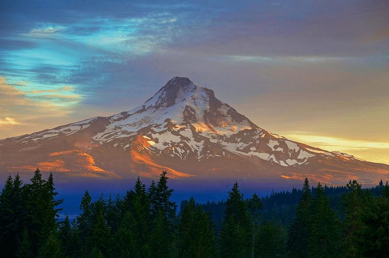 Photo: sunset over Mt. Hood, near Hood River, Oregon