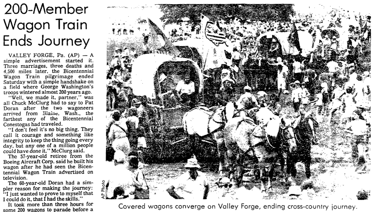 An article about the United States Bicentennial, Sacramento Bee newspaper article 4 July 1976