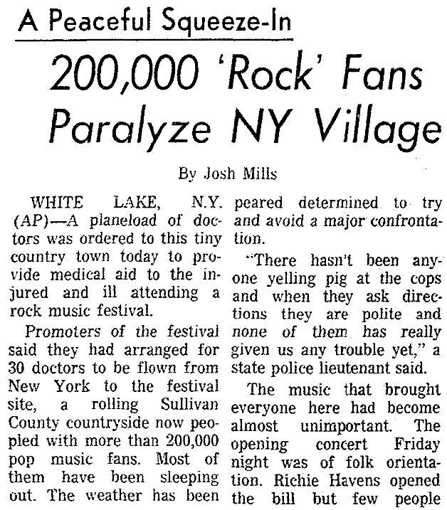 An article about the Woodstock Music Festival, Sacramento Bee newspaper article 16 August 196