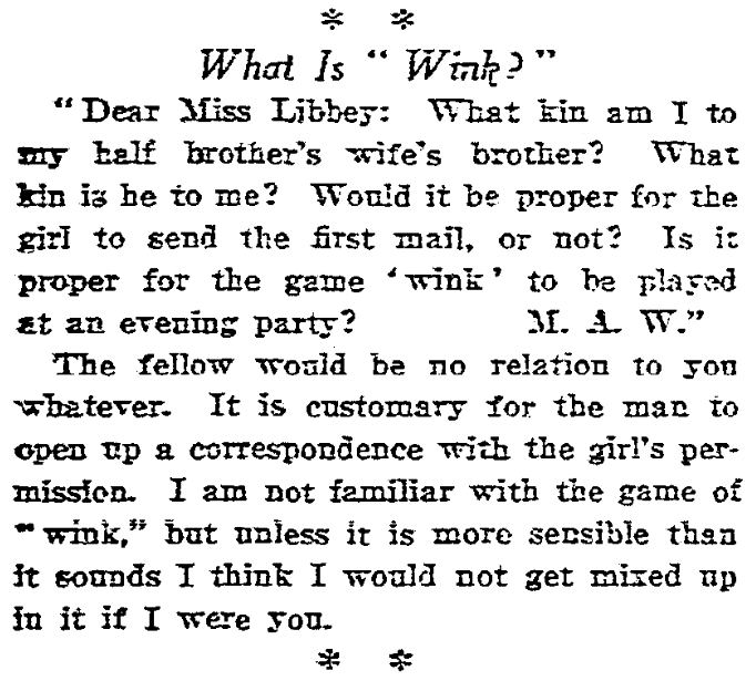 "A ""Miss Libbey"" advice column, San Francisco Chronicle newspaper article 8 March 1913"