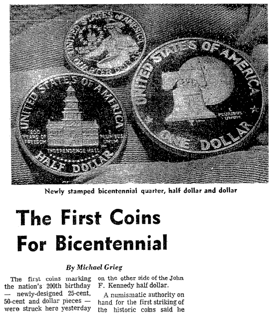 An article about the United States Bicentennial, San Francisco Chronicle newspaper article 24 April 1975