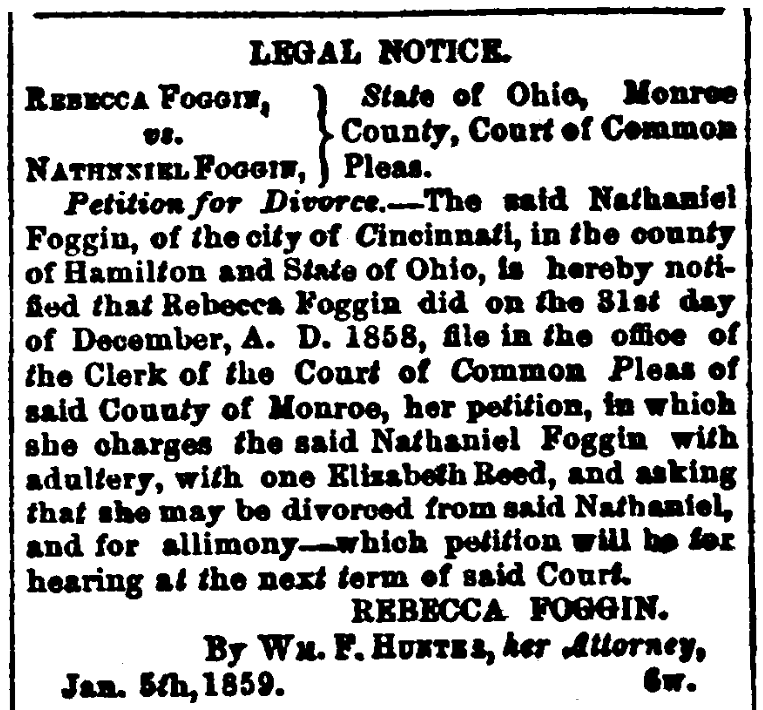 An article about divorce, Spirit of Democracy newspaper article 19 January 1859