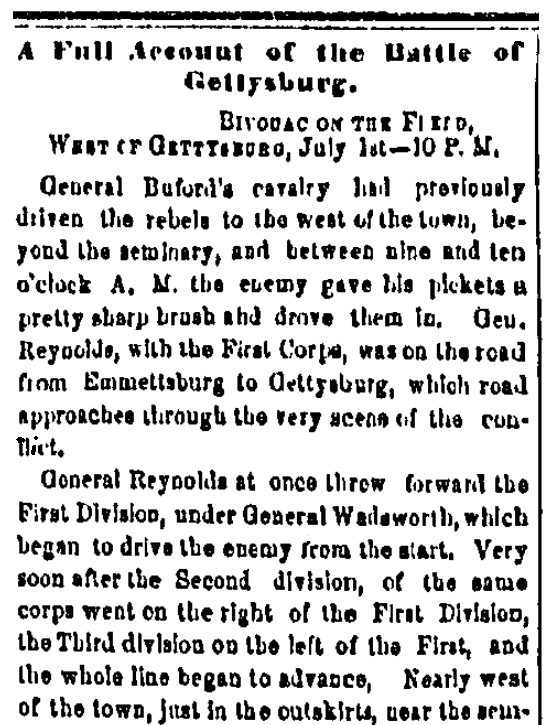An article about the Civil War's Battle of Gettysburg, Trenton State Gazette newspaper article 6 July 1863