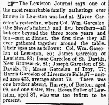 An article about a Garcelon family reunion, Weekly Eastern Argus newspaper article 26 October 1871
