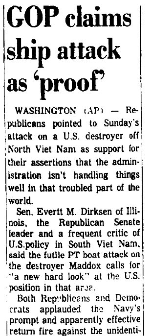 An article abbout the Vietnam War's Gulf of Tonkin Incident, Augusta Chronicle newspaper article 3 August 1964
