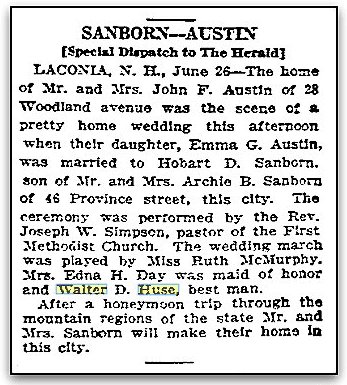 Sanborn-Austin wedding notice, Boston Herald newspaper article 27 June 1926