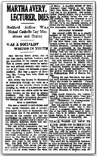 An article about Martha Moore Avery, Boston Herald newspaper article 9 August 1929