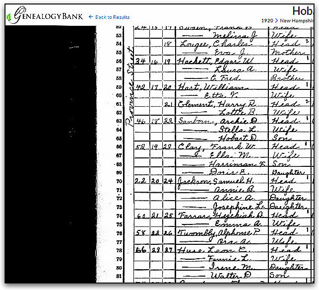 "Source: GenealogyBank, ""United States Census, 1920,"" database with images, GenealogyBank (https://genealogybank.com/#), Hobart D. Sanborn, Laconia Ward 5, Belknap, New Hampshire, United States. (Original index: United States Census, 1920, FamilySearch, 2014.)"