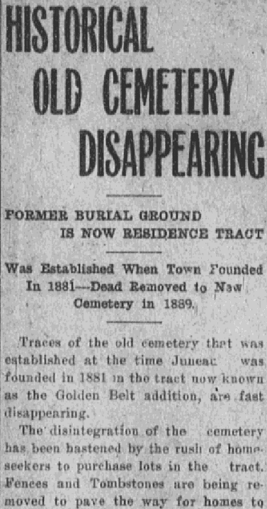 An article about a cemetery, Daily Alaska Dispatch newspaper article 7 May 1914