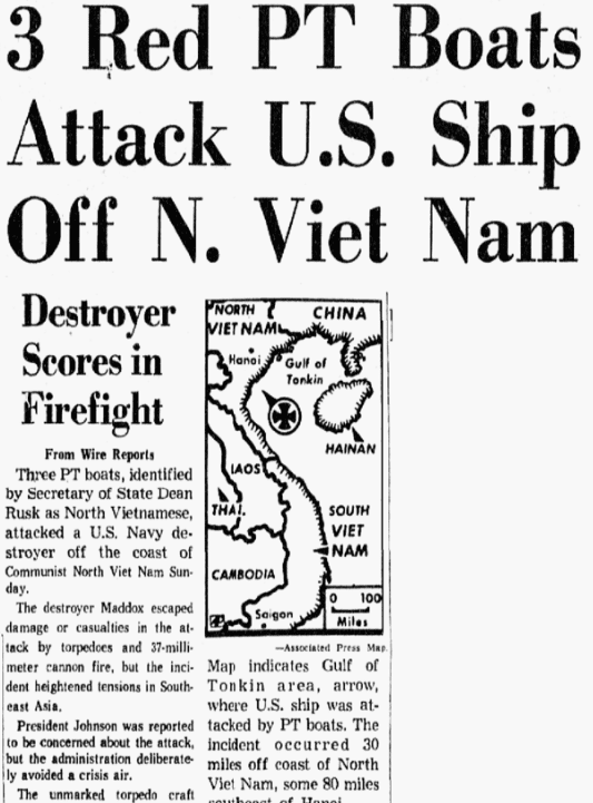 An article abbout the Vietnam War's Gulf of Tonkin Incident, Dallas Morning News newspaper article 3 August 1964