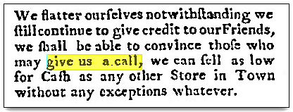 An article about a dry goods store, Farmers Chronicle newspaper article 28 December 1795