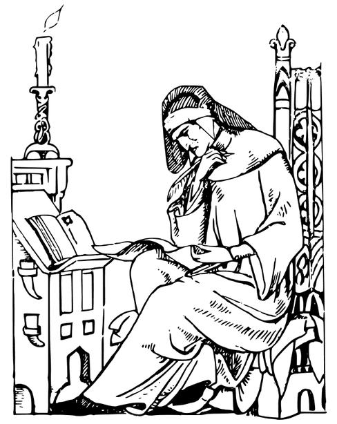 Illustration: a man writing