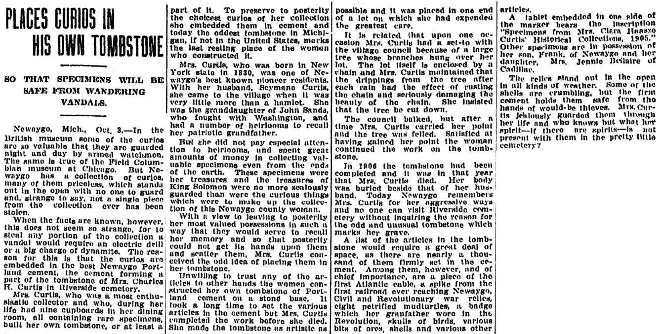 An article about Clara Curtis's tombstone, Kalamazoo Gazette newspaper article 4 October 1911