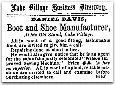 An article about Daniel Davis, Lake Village Times newspaper article 8 July 1871