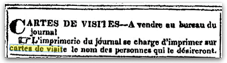 An article about visiting cards, Le Whig de St Landry newspaper article 5 December 1844