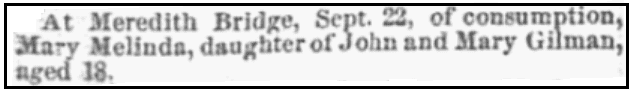 An obituary for Mary Gilman, New Hampshire Patriot and State Gazette newspaper article 11 October 1854