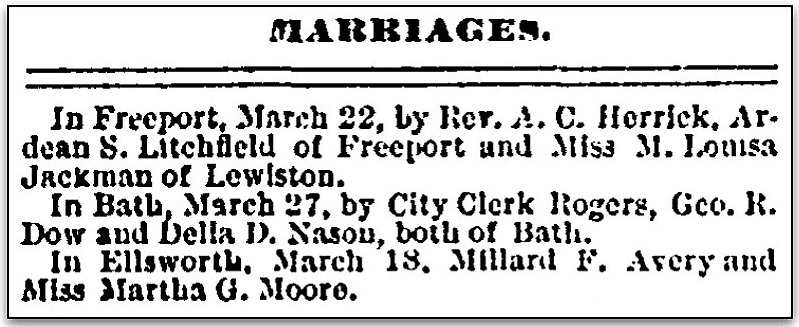 An article about Martha Moore Avery, Portland Daily Press newspaper article 31 March 1880