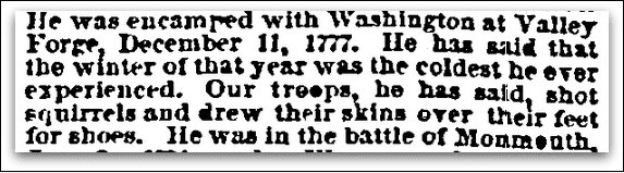 An article about Revolutionary War soldiers, Sun newspaper article 9 April 1860