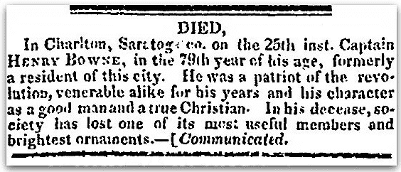 An obituary for Henry Bowne, Albany Argus newspaper article 1 January 1830