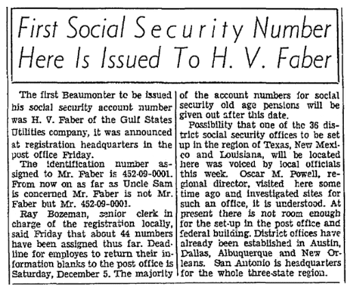 An article about Social Security Numbers, Beaumont Journal newspaper article 27 November 1936