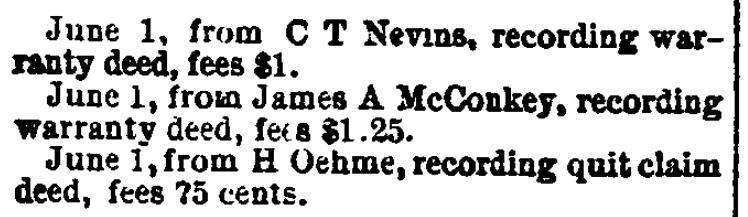 An article about land records, Daily Globe newspaper article 16 July 1882