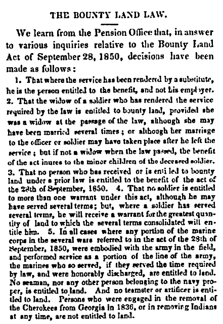 An article about the bounty land law, Daily National Intelligencer newspaper article 12 December 1850
