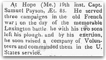 An obituary for Samuel Payson, Hallowell Gazette newspaper article 21 July 1819