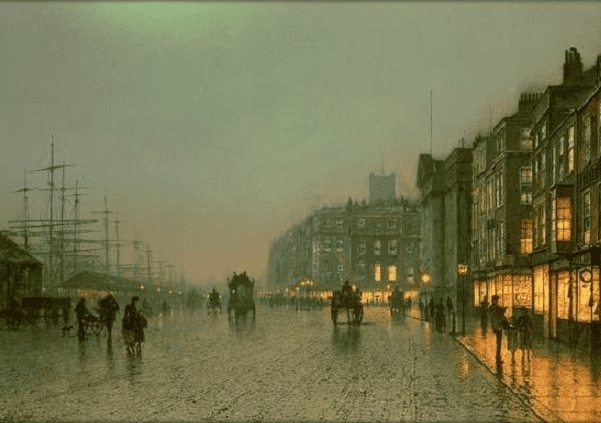 Painting: Liverpool Docks from Wapping, 1870, by John Atkinson Grimshaw (1836-1893). The original is at the Liverpool City Library, Liverpool, England.