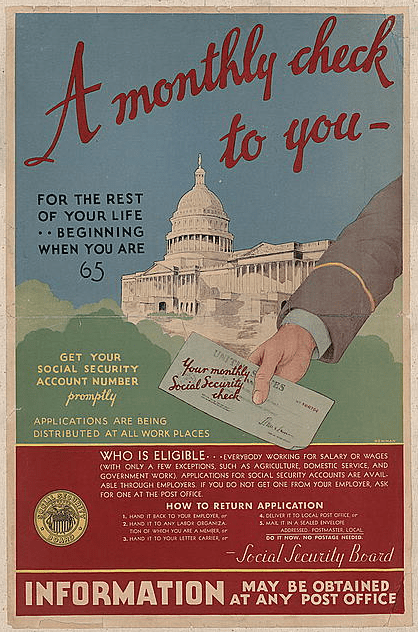 Photo: a poster from the Social Security Board, 1935