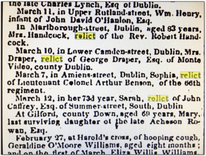 Obituaries, Irish American newspaper article 5 April 1851