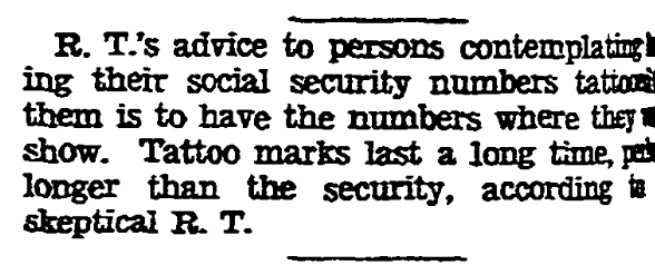 An article about Social Security Numbers, Kansas City Star newspaper article 4 January 1937