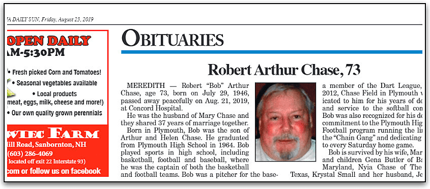 An obitury for Robert Chase, Laconia Daily Sun newspaper article 23 August 2019