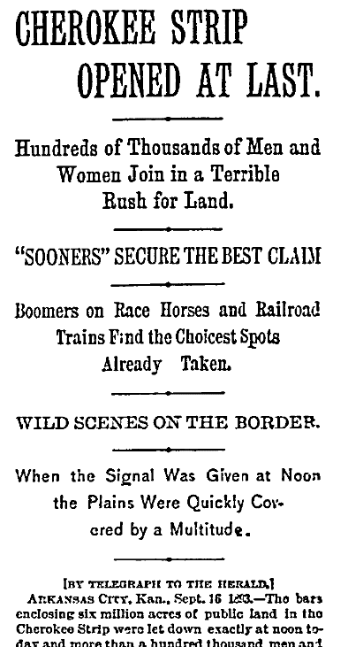 An article about the Oklahoma Land Rush, New York Herald newspaper article 17 September 1893