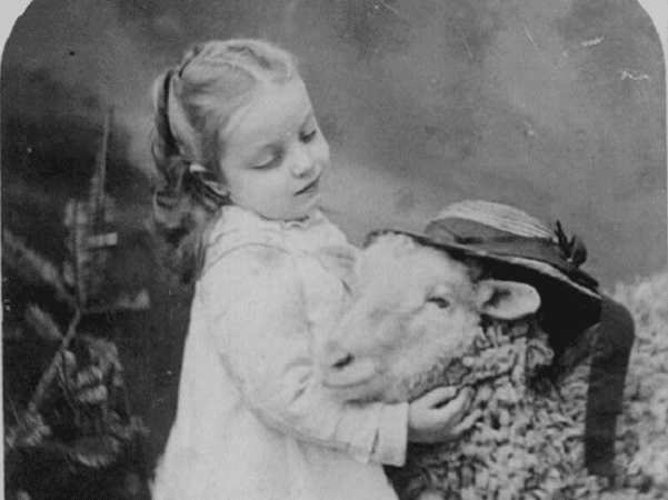 Photo: Mary with her little lamb