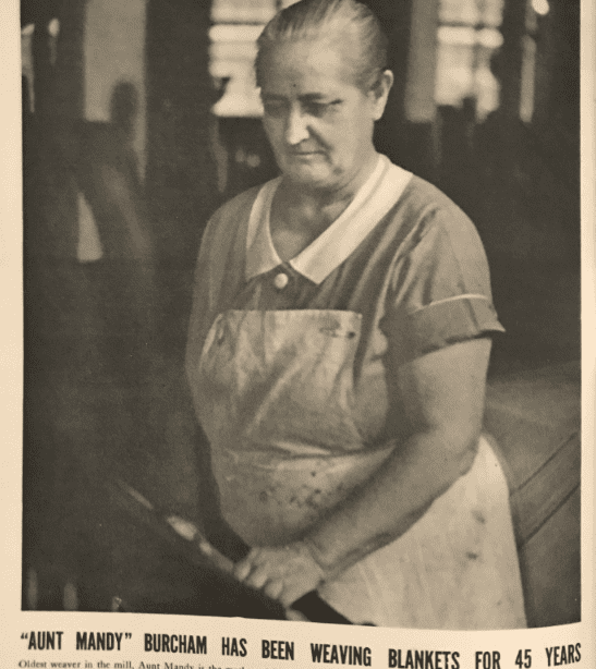 "Photo: ""Aunt Mandy"" Burcham from the booklet about the history of the Chatham Manufacturing Company, c. 1937"