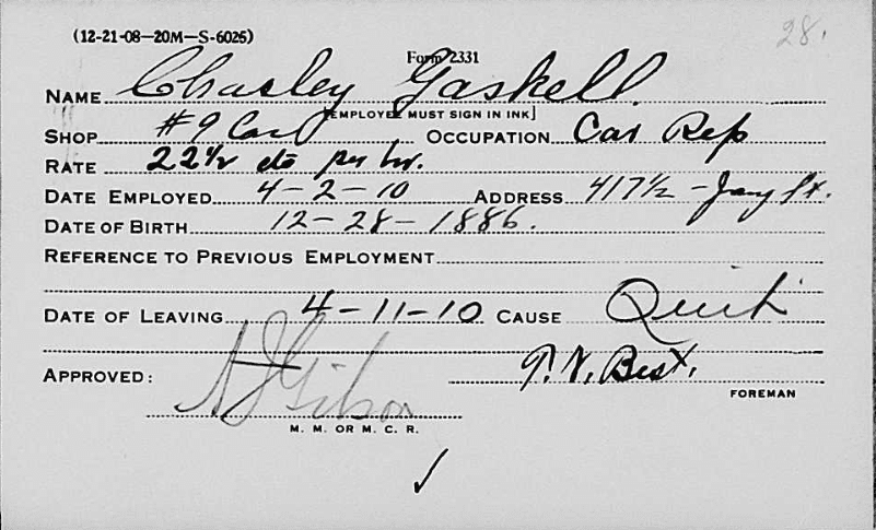 Photo: employee record card