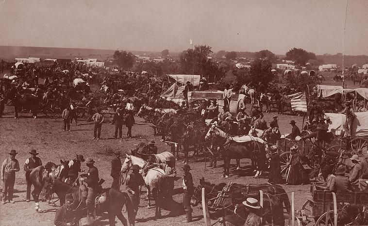 "Photo: ""One Minute Before the Start,"" Oklahoma Land Run, 16 September 1893"