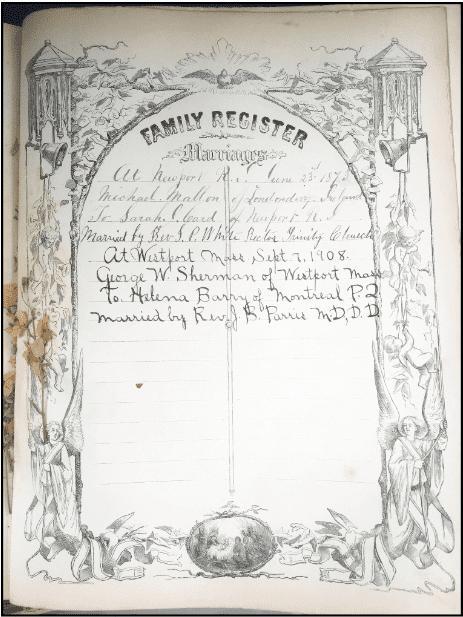 Photo: the Mallon-Card family Bible